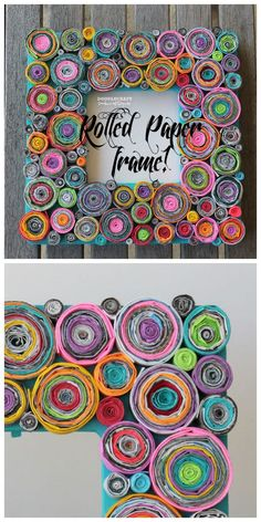 Upcycled Rolled Paper Frame crafts for kids Upcycled Rolled Paper Frame! Recycled Paper Crafts, Newspaper Crafts, Upcycled Crafts, Recycled Magazines, Recycled Magazine Crafts, Cool Paper Crafts, Recycled Art Projects, Paper Mache Crafts, Newspaper Basket