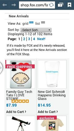 Page 1 item 1 in the Family Guy section of www.shop.fox.com