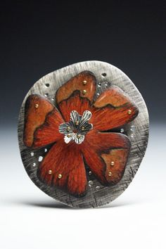 Deb Karash. Sterling silver, 18k rivets, and colored pencil on copper.  *Not only is the color on her pieces amazingly lush and gorgeous, but I really like her sense of line which adds texture!*
