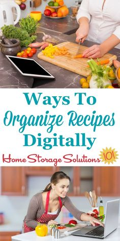 Lots of different options for how to organize recipes digitally with both apps and electronic recipe organizer products {on Home Storage Solutions 101}