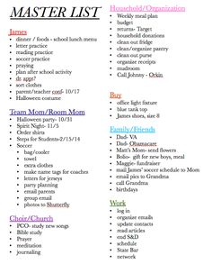 Living an Organized Life // The Master List