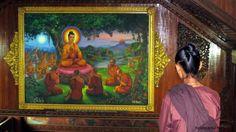 Worshipper at Shwedagon Pagoda entrance, Yangon, Myanmar