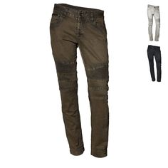 Our Best Selling slim fit motocross jeans feature a distinguished trapunto stitch detail on lower thigh and across back yoke. An initial snug fit is recommended upon 1st wear as the slub stretch denim will open up after several wears. Mid rise.  5 pocket w/ coin pocket trimmed in leather. Exposed sturdy zip closure back pockets. Zip fly.  98% Cotton, 2% Elastine. Machine wash