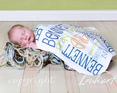 Personalized Baby Blanket - Monogrammed Baby Gift - Birth Announcement - Baby Shower Gift - Newborn Photo Prop