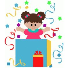 Silhouette Design Store: birthday girl in present box