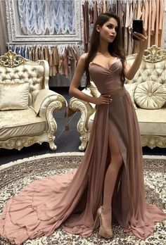 High Slit Formal Dress,A Line Prom Dresses,Prom Dress #prom #promdress #dress #eveningdress #evening #fashion #love #shopping #art #dress #women #mermaid #SEXY #SexyGirl #PromDresses