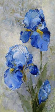Iris Painting---I love Irises! Arte Floral, Watercolor Flowers, Watercolor Paintings, Drawing Flowers, Beautiful Paintings, Painting & Drawing, Iris Painting, Oil Painting Flowers, Art Oil