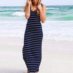 b07e652bddc Summer Style Women Striped Boho Long Maxi Sleeveless Beach Vest Dress Sexy  Ladies Casual Dress Vestidos Plus Size