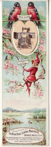 New Home Sewing Machine Victorian trade card bookmark
