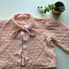 Vintage Pink Cropped 1960s 1950s Knit Bed Jacket