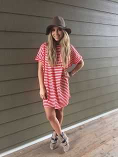 Striped Tee Shirt Dresses (Black, Charcoal, Coral, Taupe, Navy)
