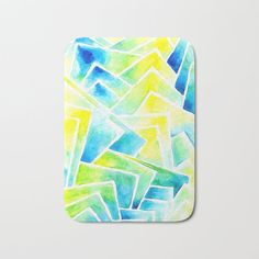 Get this groovy bathmat in watercolor print from Pinto & Co. Blue Bath Mat, Watercolor Print, Yellow, Design, Design Comics, Gold