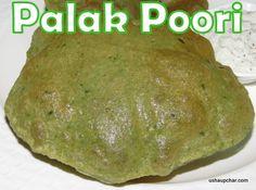 Usha Upchar » Palak poori recipe I spinach poori