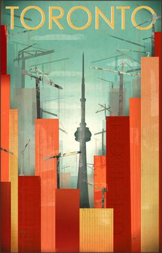 Toronto: Skyscraper City Framed Art Print by sarahlazarovic City Framed Art, Framed Art Prints, Art Deco Posters, Poster Prints, Retro Posters, Voyage Canada, Canadian Art, Canadian Things, Tourism Poster