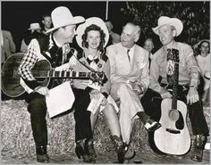 From L-to-R are Roy Rogers, Patsy Montana, Illinois Governor Green and Rex Allen at the Illinois State Fair, August, 1946, in Springfield, Illinois.