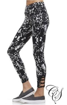 Natasha Black and White Abstract Print Athletic Leggings with Criss-Cross Cutout Accents