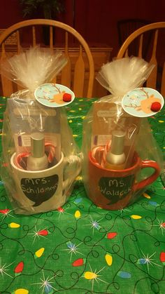 Teacher gift idea with scentsy. Scentsy room spray and scent circle. Coffee mug, candy canes and candy from the dollar store. Christmas tags from target.