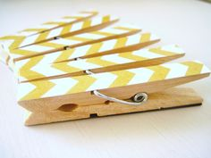 Yellow Chevron Magnets, Chevron Clothespin Magnets. $6.00, via Etsy.