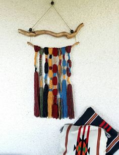 Bohemian tapestry in earth tone tassel wall от handmadebyfofo