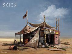 bandits camp, Sergey Shilkin on ArtStation at https://www.artstation.com/artwork/2L4rx