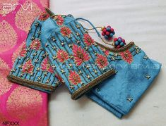 Gorgeous sky blue color designer blouse with floral design hand embroidery thread work on sleeves. Pattu Saree Blouse Designs, Blouse Designs Silk, Designer Blouse Patterns, Bridal Blouse Designs, Hand Work Blouse Design, Simple Blouse Designs, Stylish Blouse Design, Cut Work Blouse, Kurtha Designs