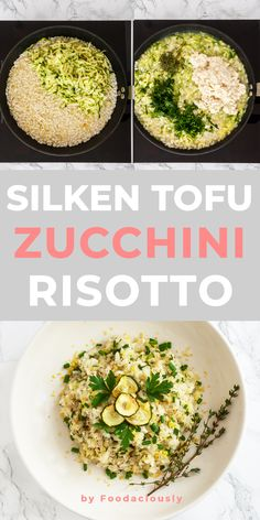 In under this creamy courgette risotto is a delicious vegan rice recipe prepared with grated courgettes, lemon zest, fresh herbs, and silken tofu. Silken Tofu Recipes, Rice Recipes Vegan, Rice Recipes For Dinner, Vegetarian Recipes, Vegan Risotto, Risotto Recipes, Risotto Rice, Salmon Risotto, Vegan Dinners