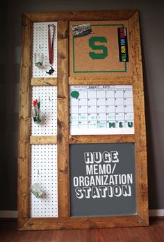 Giant DIY memo and organizational board #tutorial #backtoschool #organization