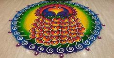Diwali Peacock Rangoli Designs