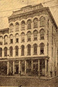 The Dispatch Building, located at 1114-16 Main Street. The third oldest building on Main Street. Formerly the Hotel Lawrence. circa 1866