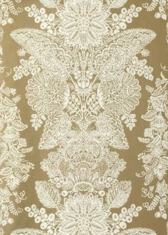 Reminds us of Victorian lace. Lace Champagne Wallpaper from @Sarah Chintomby Nasafi Grayce #laylagrayce #wallpaper #vintage #european Via Darlene Clement