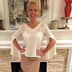 Gorgeous cream crochet detail slit sleeve top⚡️⚡️ Pretty v neck in a light - cool material with gorgeous detail in front and back!  Follow me on Instagram @kfab333 for more items Tops Blouses