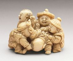 Group of Five Chinese Boys, early to mid-19th century  Netsuke, Ivory with sumi,