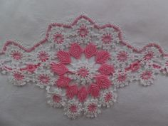 Vintage Hand Crochet Pink White Floral Lace Cotton Pillowcase by CindysCozyClutter on Etsy