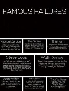 Famous Failures. One more proof that being good at school, and being fired from your job because someone deemed you useless, does not mean you won't grow up to be the most accomplished person in the world at something