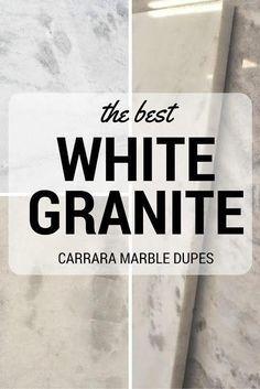 The best white granites that look like Carrara Marble White Granite Countertops, Kitchen Countertops, Kitchen Cabinets, White Cabinets, White Granite Kitchen, Granite Bathroom, Marble Counters, Faux Granite, Wood Cabinets