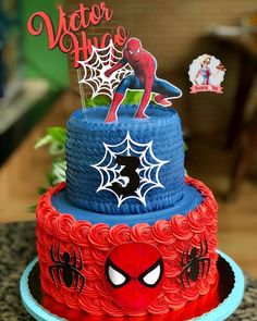Spiderman Cake Ideas for Little Super Heroes - Novelty Birthday Cakes Spiderman Theme Party, Spiderman Birthday Cake, Avengers Birthday, Superhero Cake, Superhero Birthday Party, 4th Birthday, Avenger Cake, Novelty Birthday Cakes, Desserts