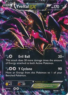 POKEMON YVELTAL EX 79/146 Card! ULTRA RARE HOLO! NEAR MINT