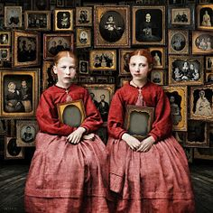 "▫Duets▫ sisters, twins & groups of two in art and photos - Beth Conklin ""one lives in the hope of becoming a memory"" - antonio porchia Digital Collage, Collage Art, Digital Art, Surrealist Collage, Digital Paintings, Photografy Art, Maggie Taylor, Chesire Cat, Daguerreotype"