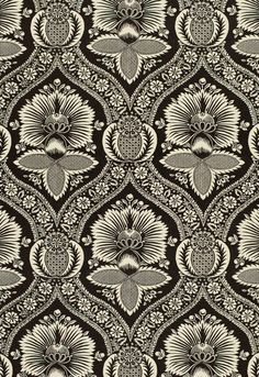 F. Schumacher Villandry Damask Print-Charcoal 173372 Interior Decor Fabric -