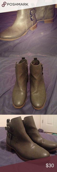 Grey old navy boots Grey boots with a slight heel and buckles in the side Old Navy Shoes Ankle Boots & Booties