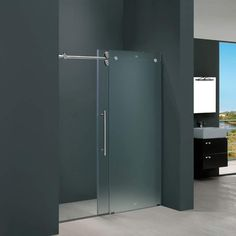 Buy the Vigo Frosted Glass / Chrome Direct. Shop for the Vigo Frosted Glass / Chrome Frameless Shower Door with Glass Left Door Installation and save. Vigo Shower Doors, Framed Shower Door, Frameless Sliding Shower Doors, Glass Shower Doors, Sliding Doors, Barn Doors, Frosted Shower Doors, Tall Cabinet Storage, Locker Storage
