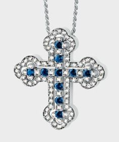 Damiani- Belle Epoque-web-May.2013,WHITE GOLD, DIAMOND (ct 0.8) AND SAPPHIRE (ct 0.52) CROSS NECKLACE