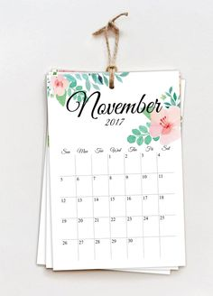 2017 Monthly Calendar - Floral (printable) - Zion The Panda