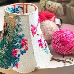 I'm still stitching the #fridakahlo #lampshade .....