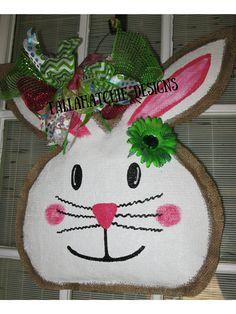 40% Off Today...https://www.etsy.com/listing/177564181/burlap-easter-bunny-easter-bunny-door?ref=shop_home_active_11