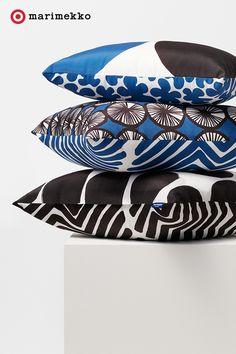 Marimekko for Target Indoor/Outdoor Lumbar Pillow - Harka & Paprika Print - Blue