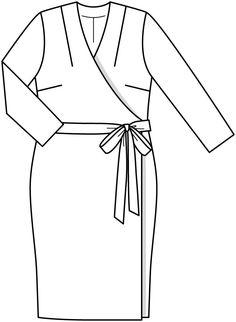 Платье с запахом - выкройка № 433 из журнала 2/2015 Burda. Мода для полных – выкройки платьев на Burdastyle.ru