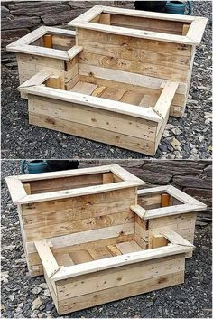Original DIY ideas for Recycling wood pallet planters ideas for planters # . - UPCYCLING IDEAS - Original DIY ideas for Recycling wood pallet planters ideas for planters # …, pallets - Wood Pallet Planters, Reclaimed Wood Projects, Diy Pallet Projects, Wooden Pallets, Pallet Wood, Outdoor Pallet, Garden Pallet, Pallet Benches, Pallet Tables