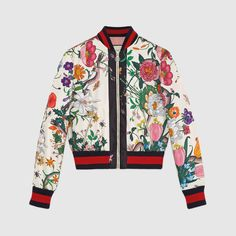 c51ee932e2e441 Flora snake print silk bomber Gucci Pattern, Fringe Leather Jacket, Leather  Trench Coat,