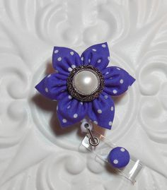 Retractable Badge Holder Id Badge Lanyard Flower Purple Polka Dot